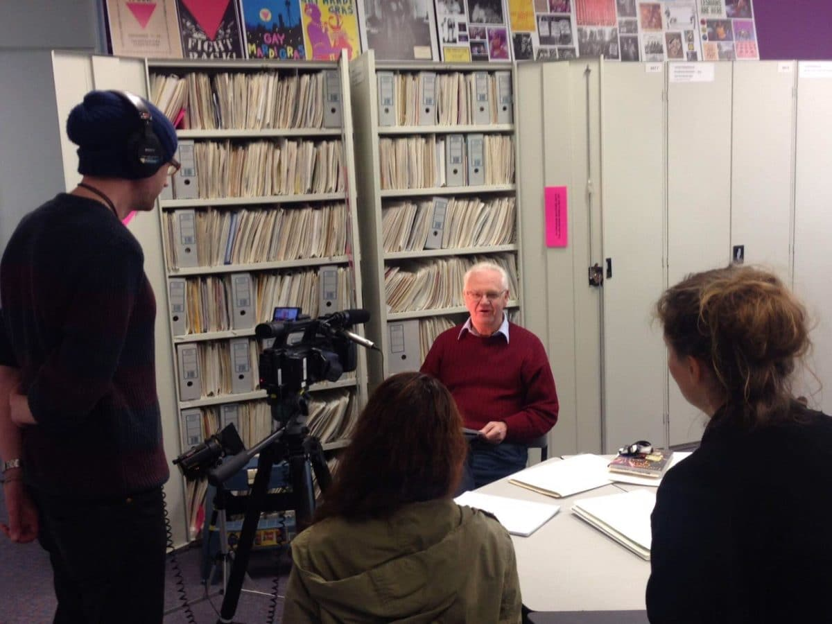 Graham Carbery being interviewed at the Archives for the Victorian Equal Opportunity and Human Rights Commission's 'Pride Not Prejudice' video series, ALGA Reading Room, South Yarra, September 2015
