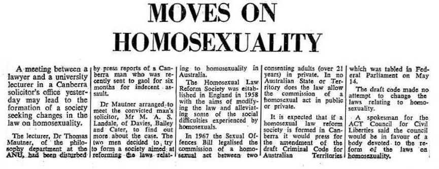 Moves on homosexuality, The Canberra Times (Canberra, ACT), 4 July 1969 p.1, Newspaper Clippings Collection