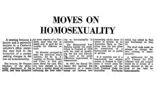 Moves on homosexuality, The Canberra Times (Canberra, ACT), 4 July 1969 p.1, Newspaper Clippings Collection [600 x 350]