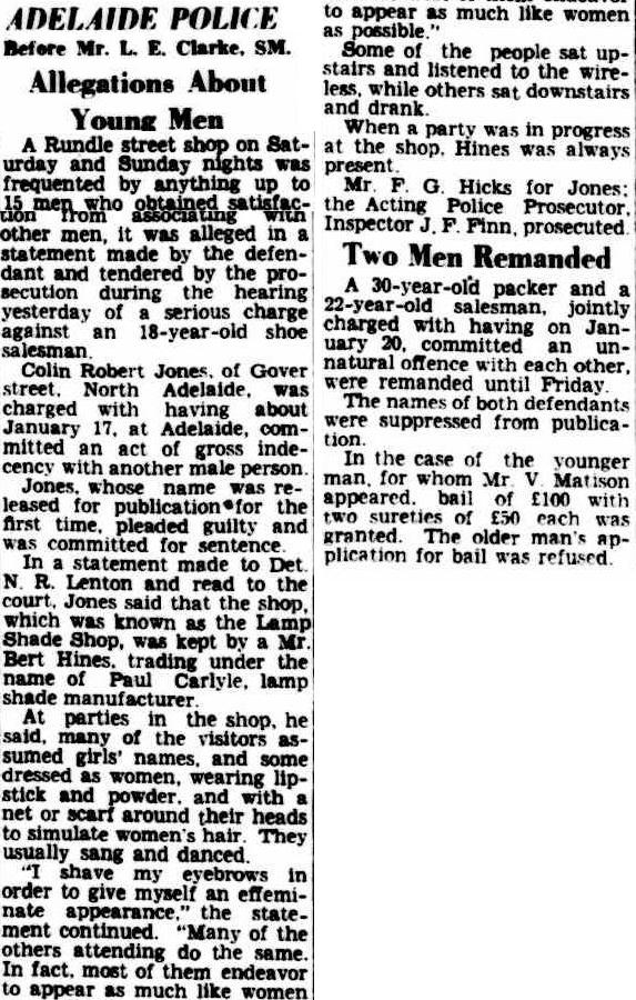 Allegations about young men, Advertiser (Adelaide, SA), 22 February 1950, p5, Newspaper Clipping Collection