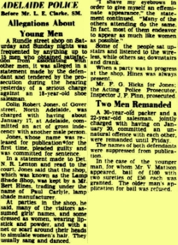 Allegations about young men, Advertiser (Adelaide, SA), 22 February 1950, p5