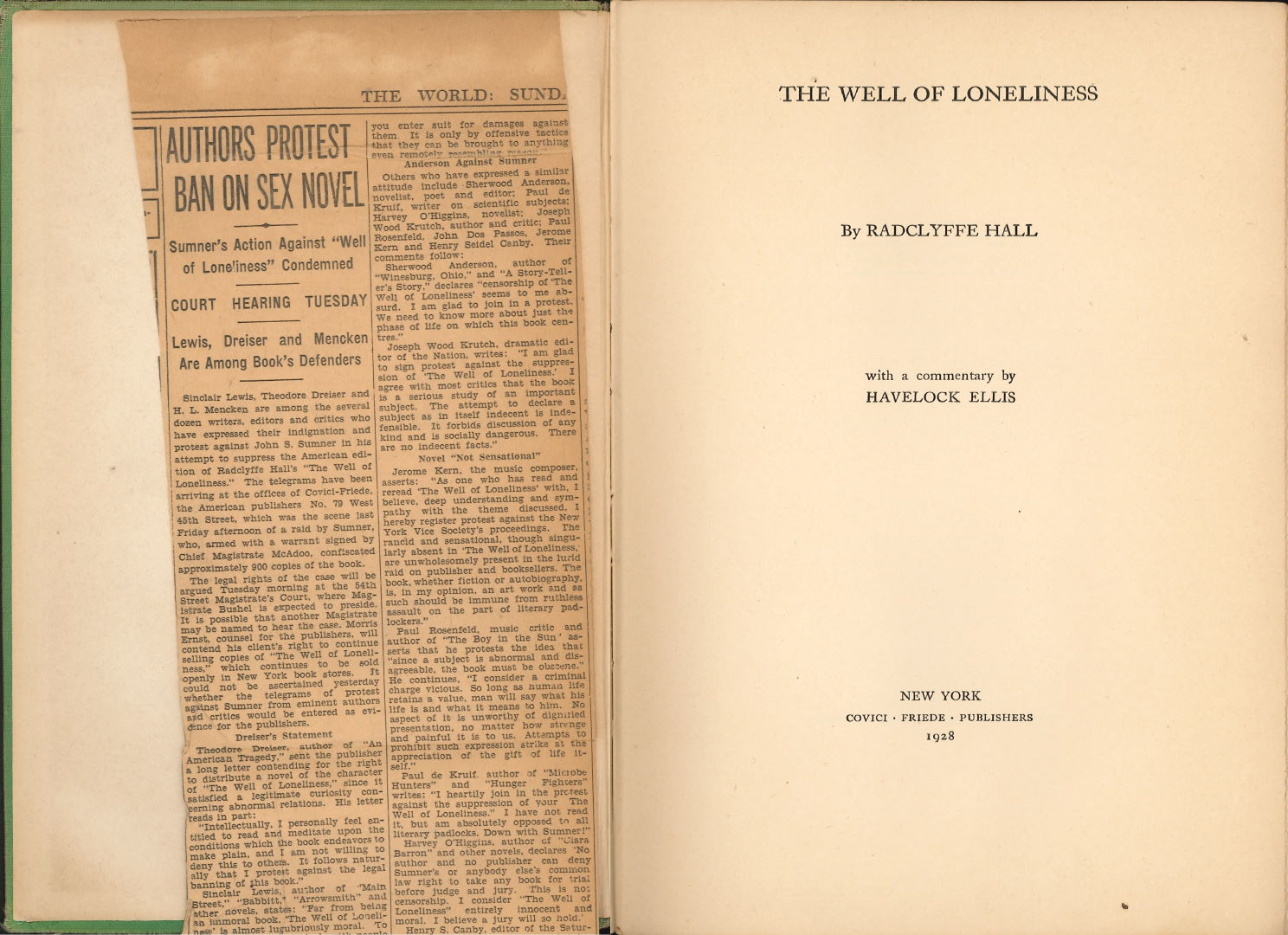 The well of loneliness / Radclyffe Hall (New York: Covici Friede Publishers, 1928)