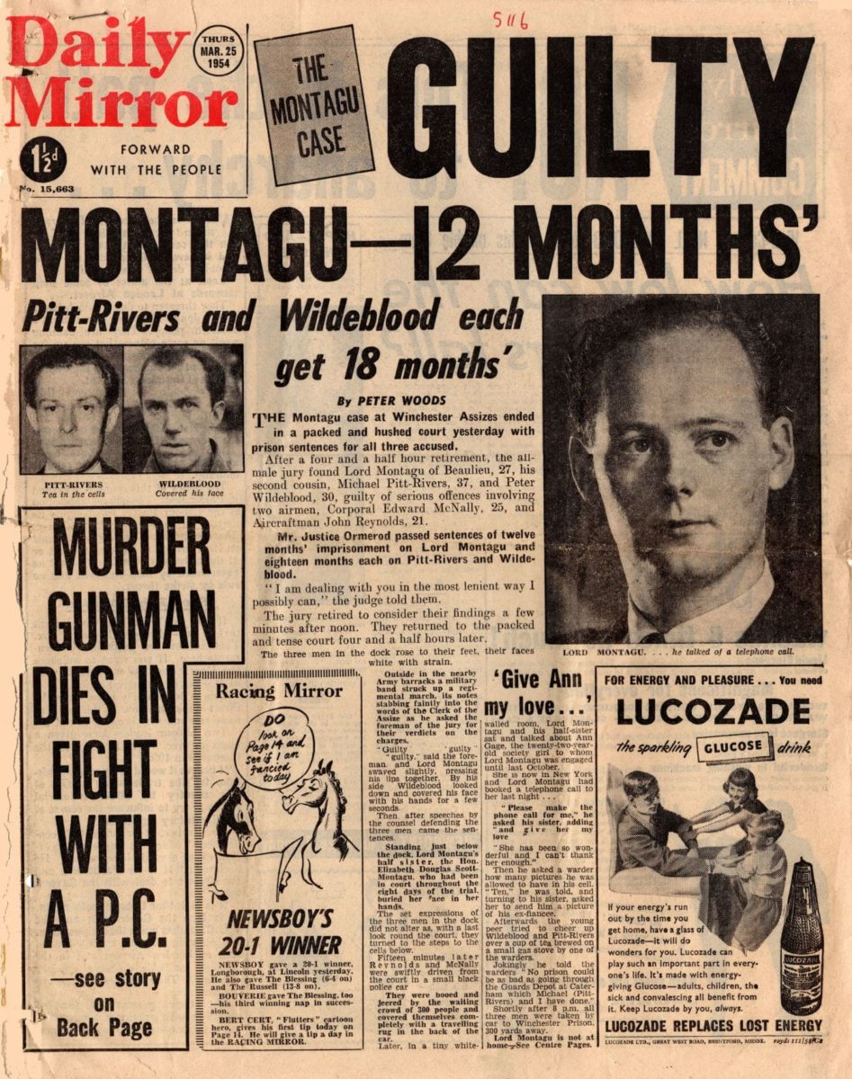 Guilty : Monatagu - 12 months', Daily Mirror (London, UK), 25 March 1954, p1, Papers of GR