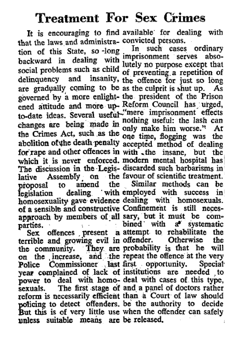 Treatment for sex crimes, Sydney Morning Herald (Sydney, NSW), 28 March 1955, p2, Newspaper Clipping Collection