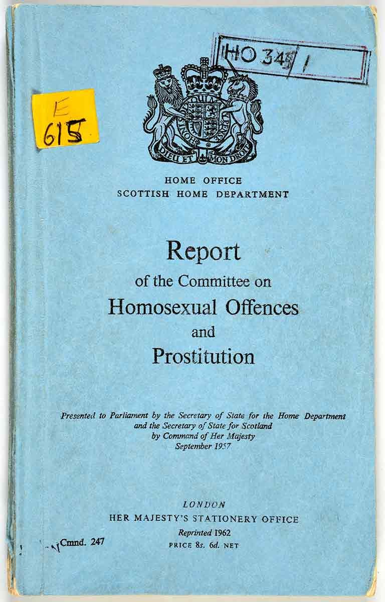 [Wolfenden Report] Report of the Committee on Homosexual Offences and Prostitution / Committee on Homosexual Offences and Prostitution, Great Britain (London, United Kingdom : Her Majesty's Stationery Office, 1968), Book CollectionReport of the Committee on Homosexual Offences & Prostitution [book cover], Committee on Homosexual Offences and Prostitution, Great Britain; John Wolfenden, (London, UK), 1960, ALGA Book Collection