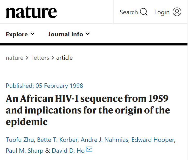 An African HIV-1 sequence from 1959 and implications for the origin of the epidemic / Tuofu Zhu, et. al., Nature, 5 February 1998