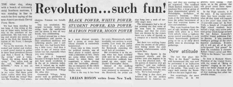 Revolution... such fun - Lillian Roxon, Sydney Morning Herald (Sydney, NSW), 16 July 1969, p2, Newspaper Clipping Collection