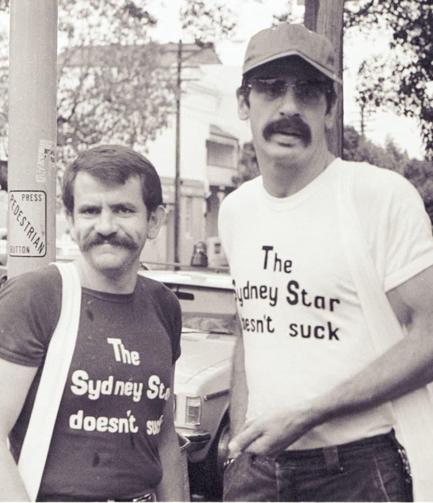 Dennis Scott and Michael Glynn, Queen St Fair, Sydney NSW, November 1979 (Photo: Eddy Hackenberg), Eddy Hackenberg Collection