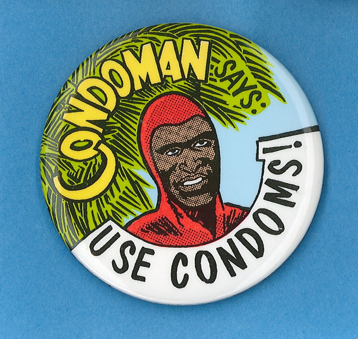 Condoman says: use condoms - Commonwealth Department of Human Services and Health and Aboriginal Health Workers of Australia (Queensland), c.1991 2-15-1