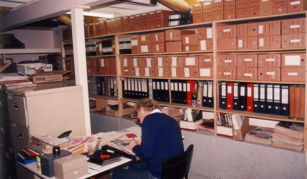 Graham Carbery at the Archives, Ivanhoe, 1991 (photo: unidentified photographer), 90-31d, Photographs Collection
