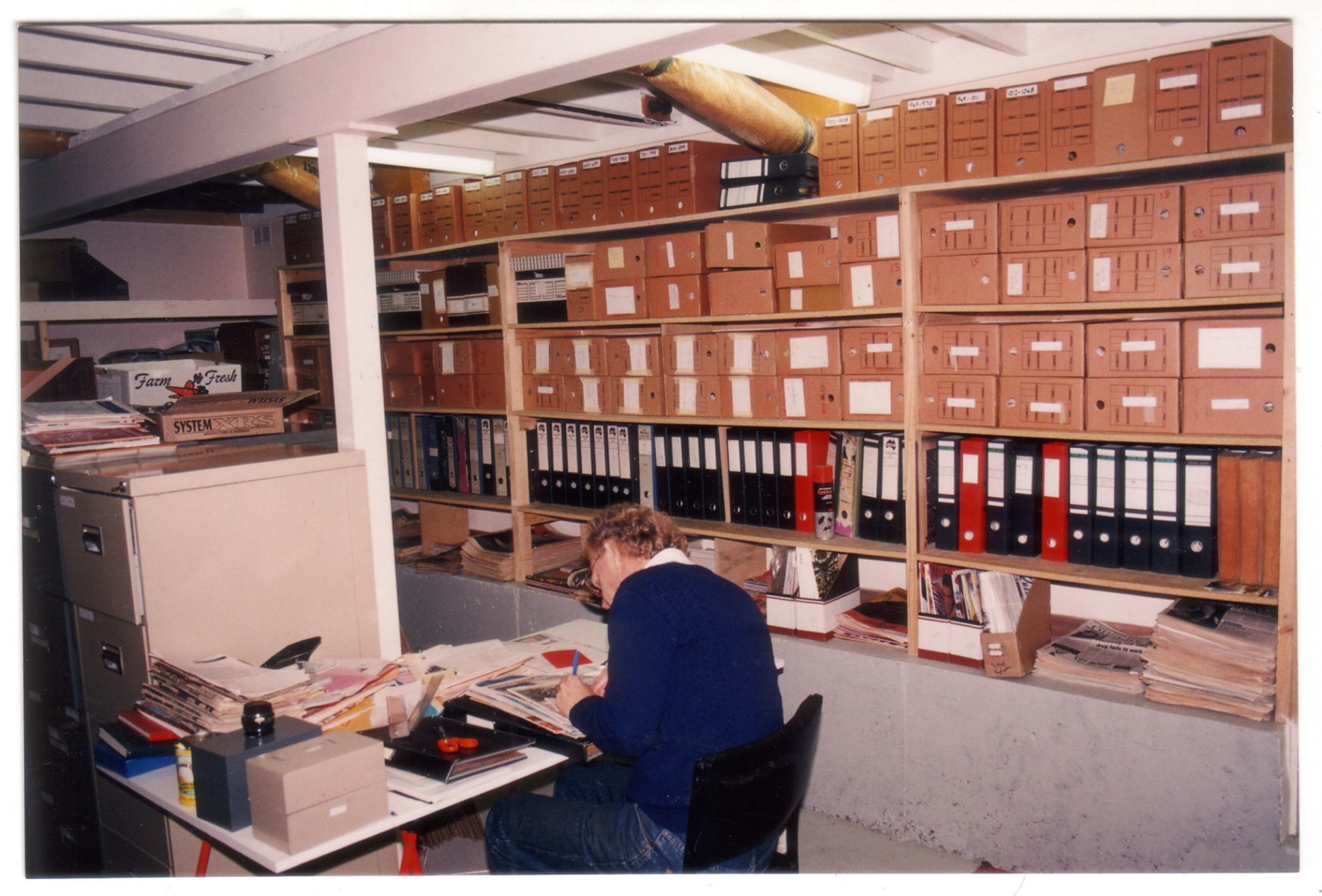 Graham Carbery at the Archives, Ivanhoe, 1991 (photo: unidentified photographer) Photographs Collection, 90-31d