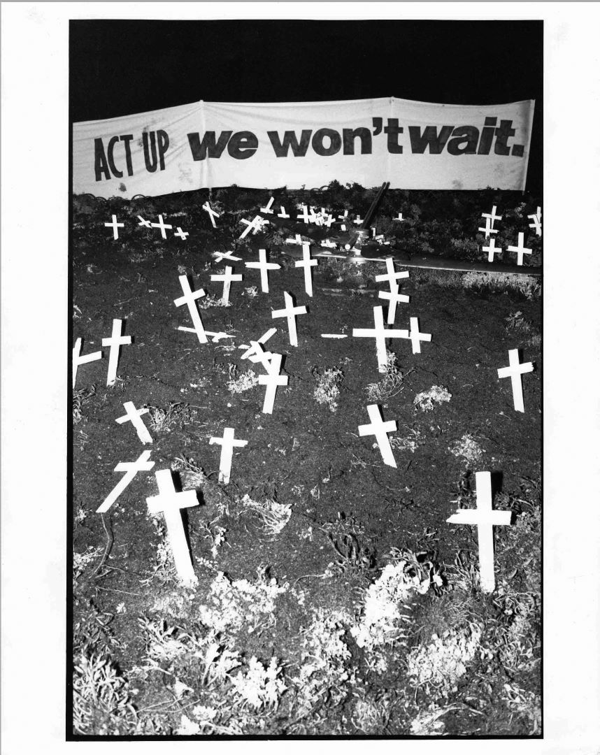 'ACT UP : we won't wait' banner at Floral Clock D Day protest, Melbourne, 1990, (photo: John Willis), Photograph Collection