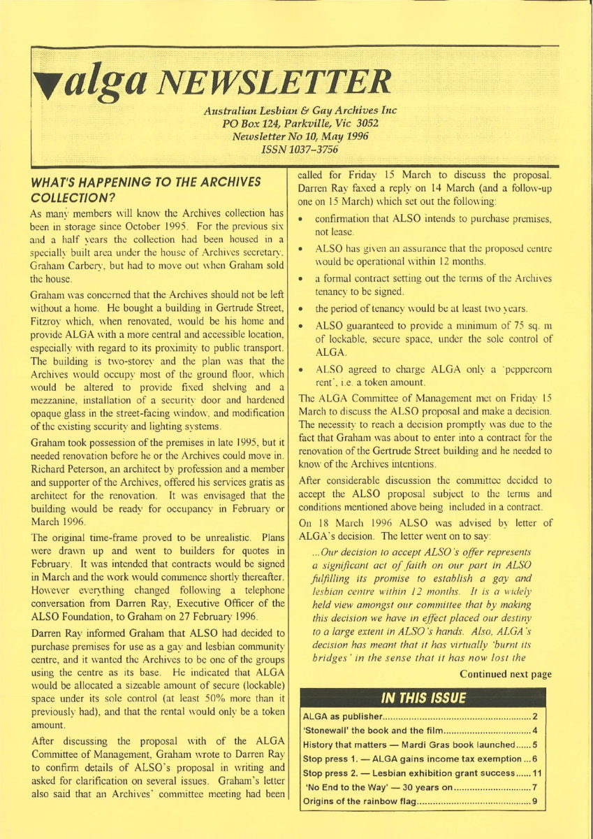 ALGA Newsletter n.10, May 1996, p.1, Periodicals Collection