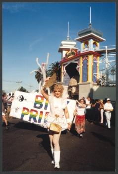 Bi Pride group, Pride March, St. Kilda, 1999, Midsumma Collection (Photo: Angela Bailey)
