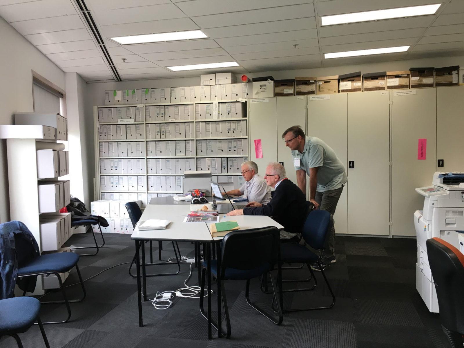(L-R) Bruce Dixon, Gary Jaynes and Bill Calder, ALGA Reading Room, 615 St Kilda Road Melbourne, 2020 (photo: Kathy Sport)