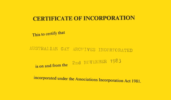 Certificate of incorporation, 1983, Records of ALGA – Feature Web