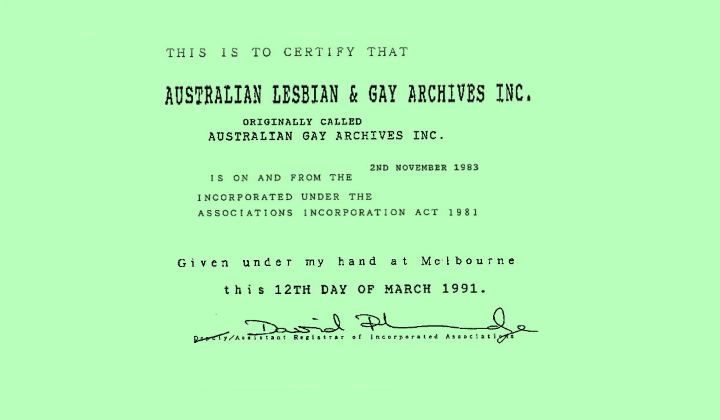 Certificate of incorporation, 1991, Records of ALGA – Feature Web
