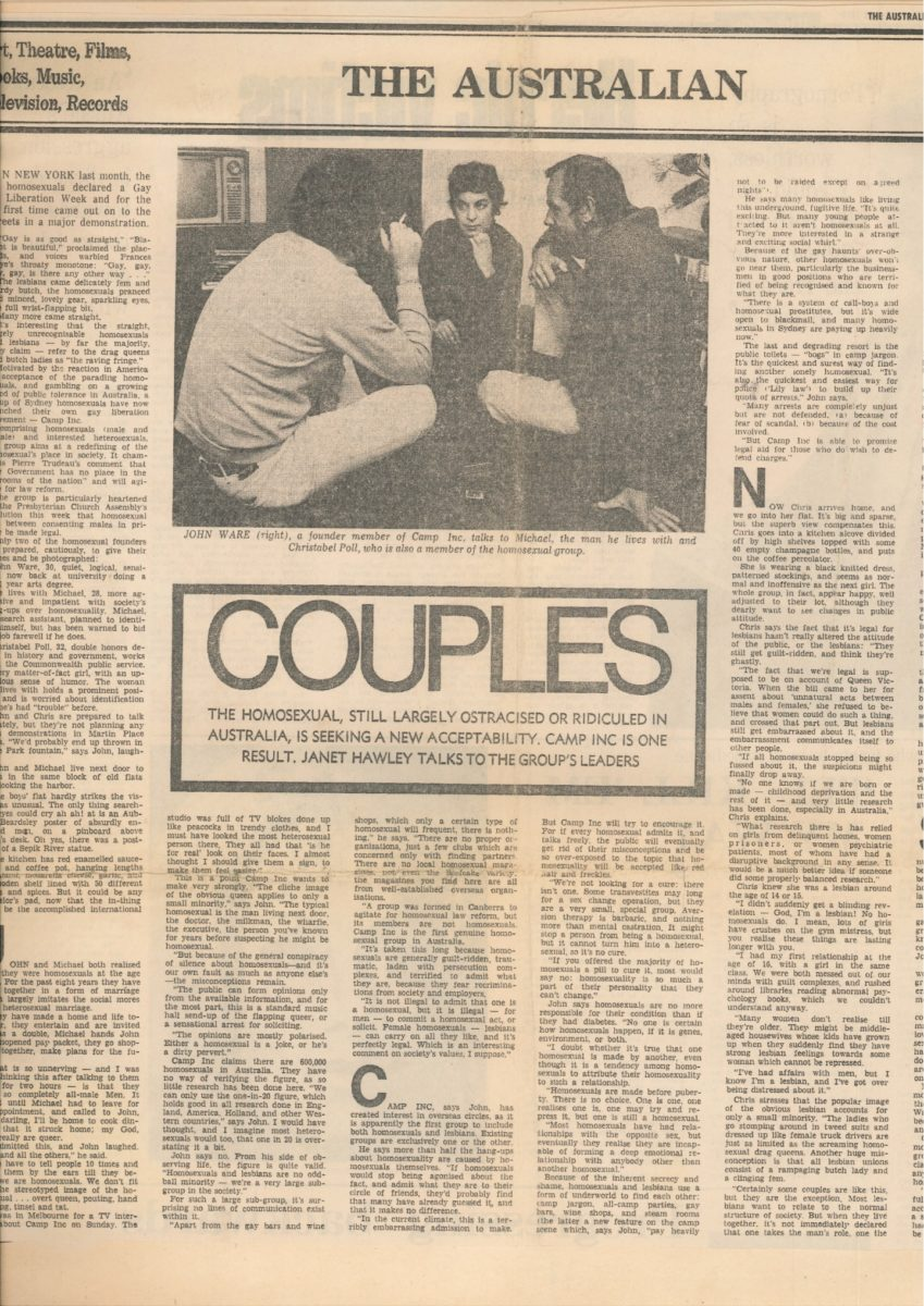 Couples - Janet Hawley, The Australian (Sydney, NSW), 19 September 1970, p15, Newspaper Clipping Collection