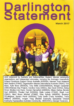 Darlington statement: Joint consensus statement from the intersex community retreat in Darlington / Eve Black, et al ([Sydney: Androgen Insensitivity Support Syndrome Support Group Australia (AISSGA), Intersex Trust Aotearoa New Zealand (ITANZ), Organisation Intersex International Australia (OIIAU), Bladder Exstrophy Epispadias Cloacal Exstrophy Hypospadias Australian Community – BEECHAC], March 2017)