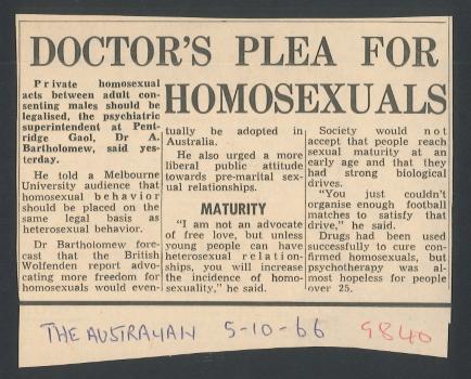 Doctor's plea for homosexuals, The Australian (Sydney), 5 October 1966