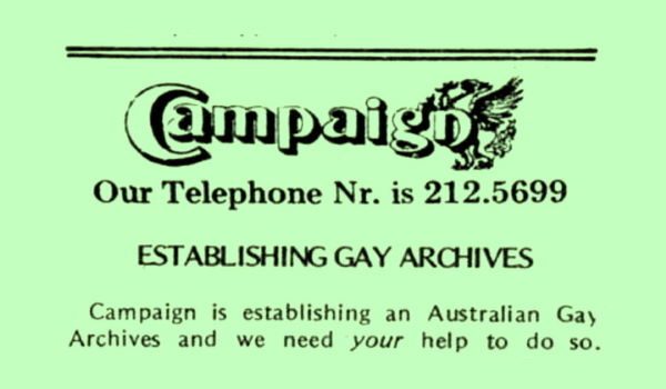 Establishing Gay Archives, Campaign n11, July 1976 p41
