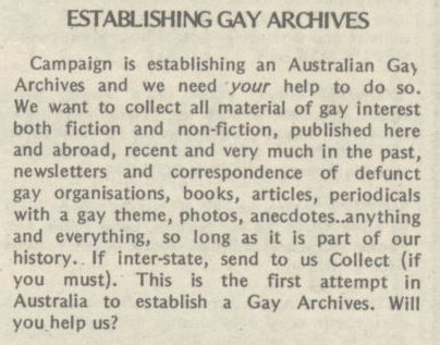 Establishing Gay Archives, Campaign n.11, July 1976 p.41, Periodicals Collection