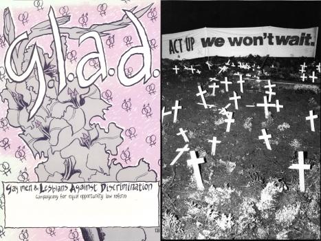 G.L.A.D. – unidentified artist (Melbourne, Vic : Gay Men and Lesbians Against Discrimination, c.1990), D671 and 'ACT UP : we won't wait' banner at Floral Clock D Day protest, Melbourne, 1990, (photo: John Willis)