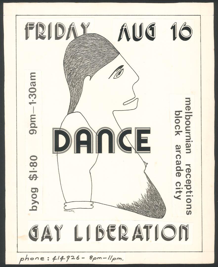 Gay Liberation Dance, Melbournian Receptions, Block Arcade, Friday Aug 16 [flyer] - Julian Desaily, 1974