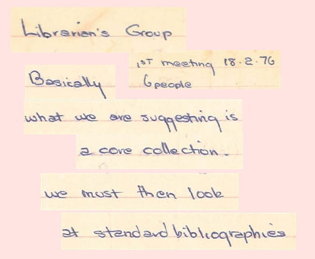 ontage of Liz Ross notes, 6 pp, c.February-March 1976, Papers of Gay Librarians Group