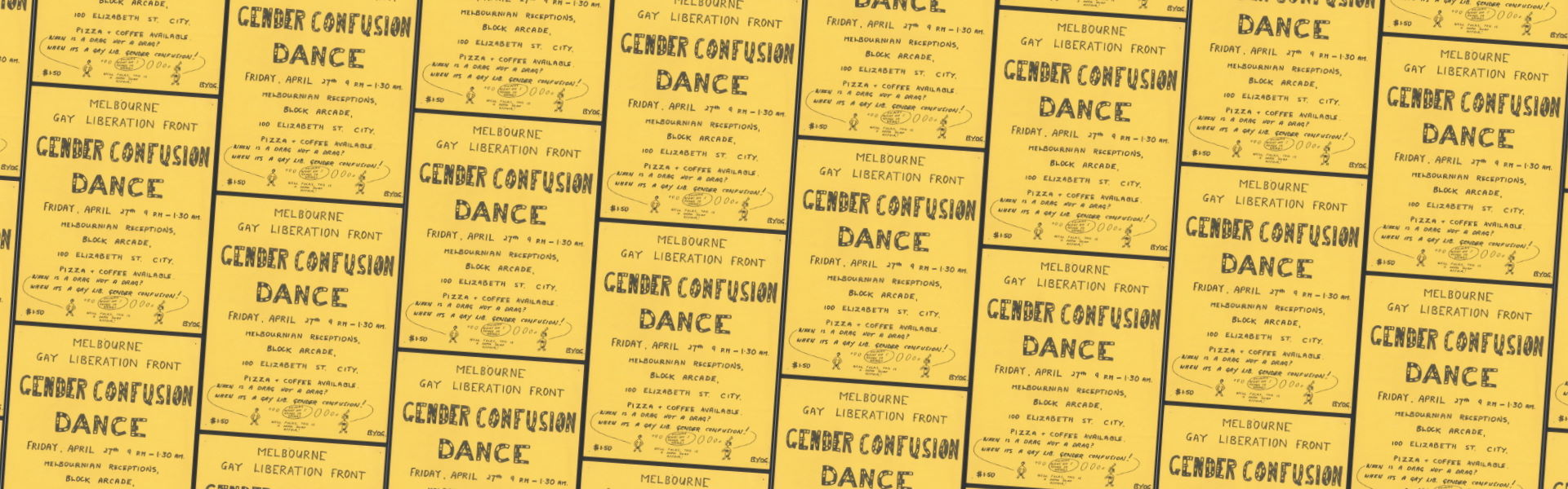 Gender Confusion Dance, Melbournian Receptions, Block Arcade, Friday 27 April (Melbourne, [1973])-Banner Web