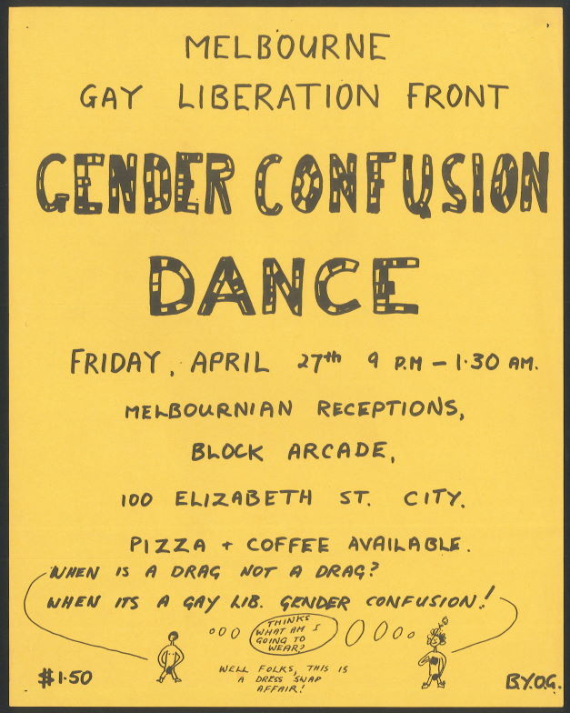 Gender Confusion Dance, Melbournian Receptions, Block Arcade, Friday 27 April (Melbourne, [1973]), Ephemera Collection