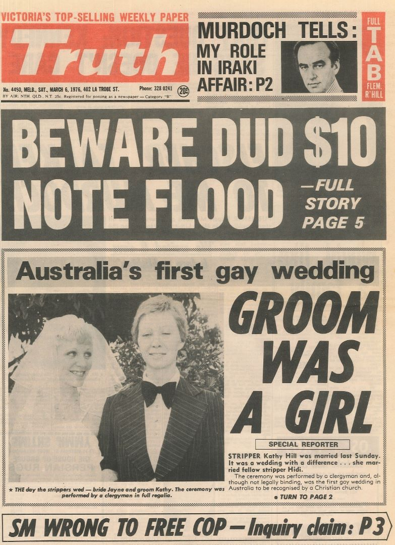 Groom was a girl, Australia's first gay wedding, Truth (Melbourne), 6 March 1976, p.1