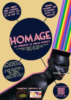 Homage- An expression of human diversity [flyer] – Alice Springs Pride Carnivale, 2015