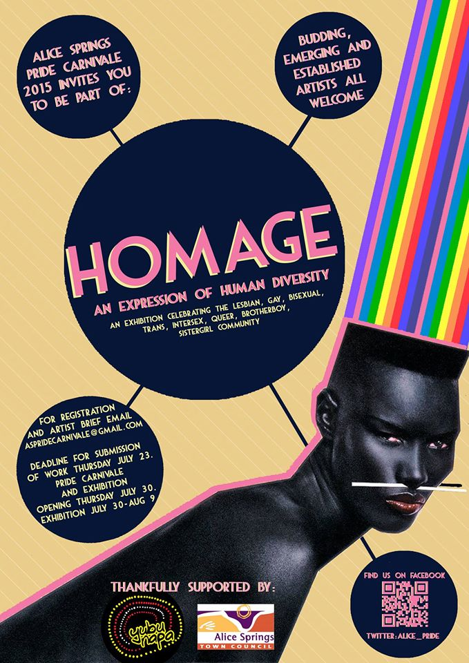 Homage- An expression of human diversity [flyer] - Alice Springs Pride Carnivale, 2015