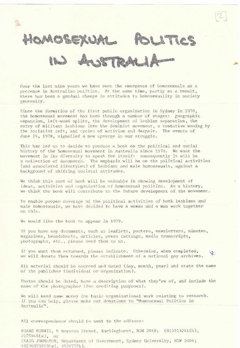 Homosexual Politics in Australia / Di Minnis, Craig Johnston, 1978, p.1, Papers of Johnston, Minnis and Carswell [The Homosexual Movement in Australia]