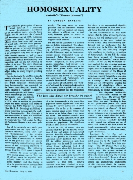 """Homosexuality : Australia's """"Greatest Menace""""?, Gordon Hawkins, The Bulletin (Sydney, NSW), 8 May 1965 p21-22, Newspaper Clipping Collection"""