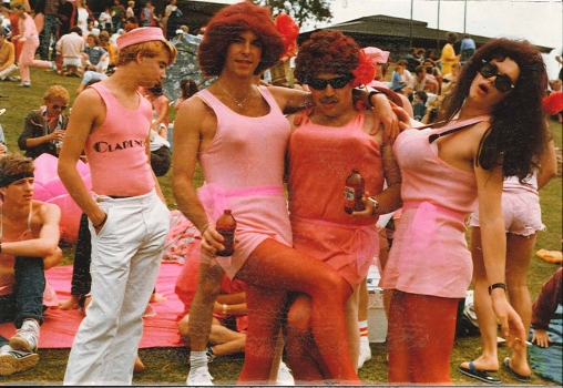 Ian Jopson and The Slagg Sisters in The Clarendon Team, 3rd Gay Olympiad, Perth, 1981, Ivan Polson Klick! Magazine Collection (Photo: Ivan Polson)
