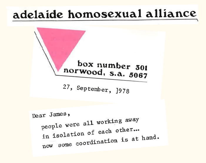 Montage of letter to James Fraser / John Lonie, 27 09 1978 p.1, Collection of Canadian Gay Archives