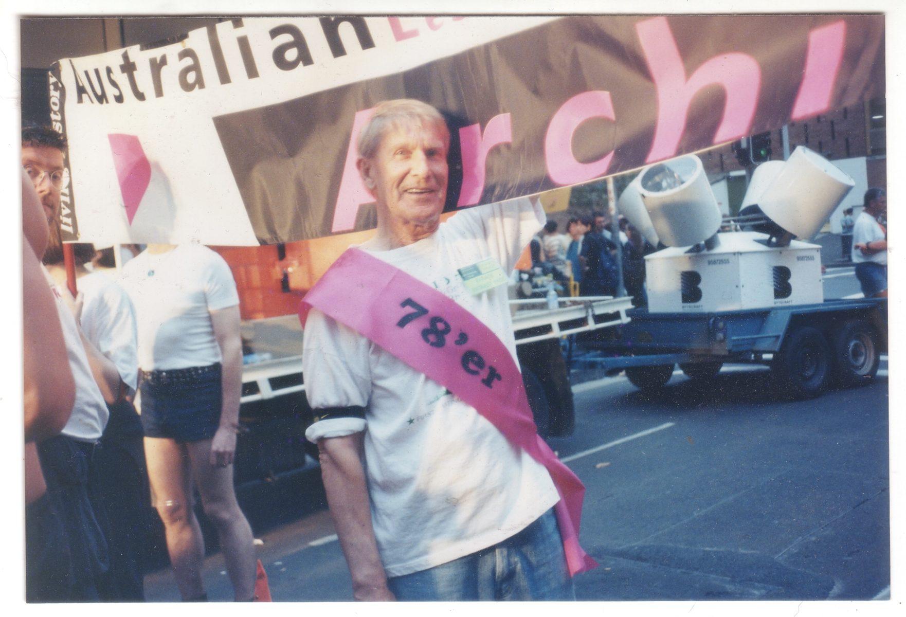Ken Lovett with ALGA contingent at Sydney Gay and Lesbian Mardi Gras Parade, Sydney, 1998 (Photo: Murray Little)