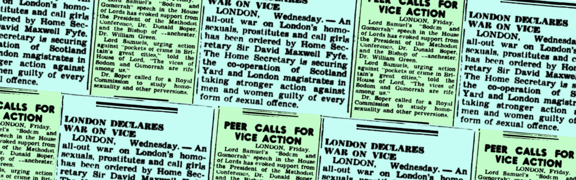 London declares war on vice, The Canberra Times (Canberra, ACT), 29 October 1953 and Peer calls for vice action, The Canberra Times (Canberra, ACT), 7 November 1953, p2, Newspaper clipping collection