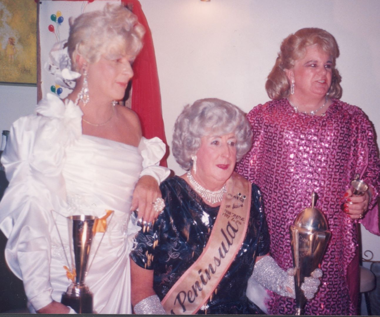 Maggie(?) seated in Miss Peninsula sash with Samantha and Honky Tonk, [1991], (Photo: unidentified photographer) BB-04d