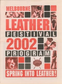 Melbourne Leather Festival, 2002  Spring into leather [program] – Melbourne Eagle Leather, 2002