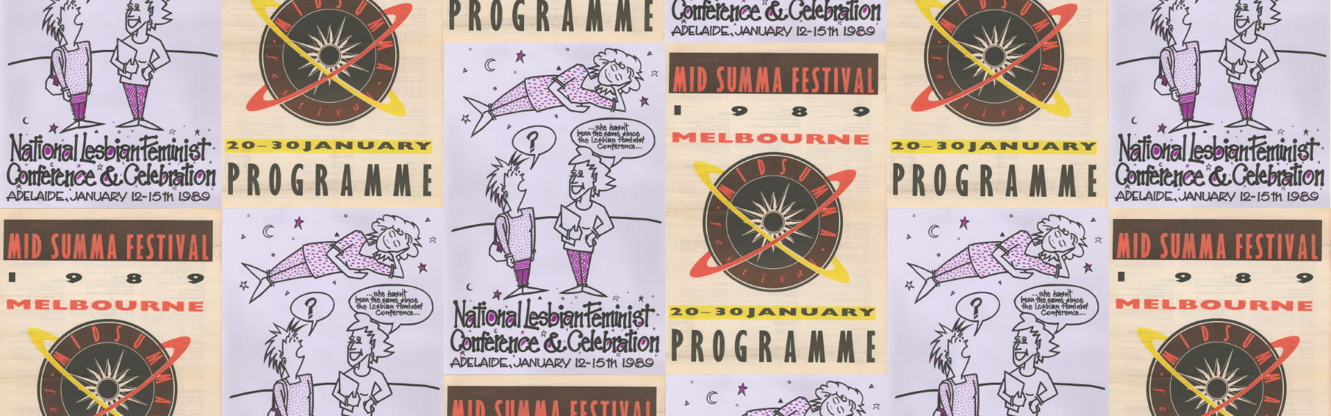 National Lesbian Feminist Conference & Celebration (Adelaide, SA, 1989), Poster Collection D083 and Midsumma Festival Programme, 1989, Periodical Collection