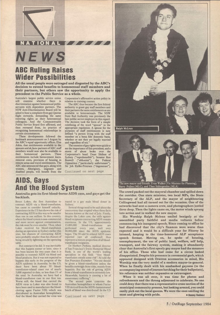 National News, Outrage (Melbourne, Vic), n.17, September 1984, p5, Periodicals Collection
