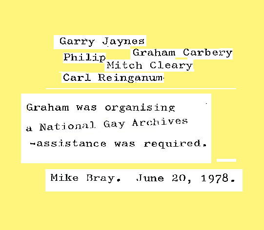 ontage of Report on meeting with various members of Melbourne Homosexual Groups / Mike Bray, 10 June 1978, Records of the 4th National Homosexual Conference