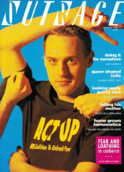 Outrage n.89, October 1990 (Melbourne, Vic) [Bill Hathaway (Photo Andrew Lehman)]