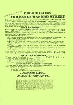 Police raids threaten Oxford Street [Club 80], 1983, Ephemera Collection