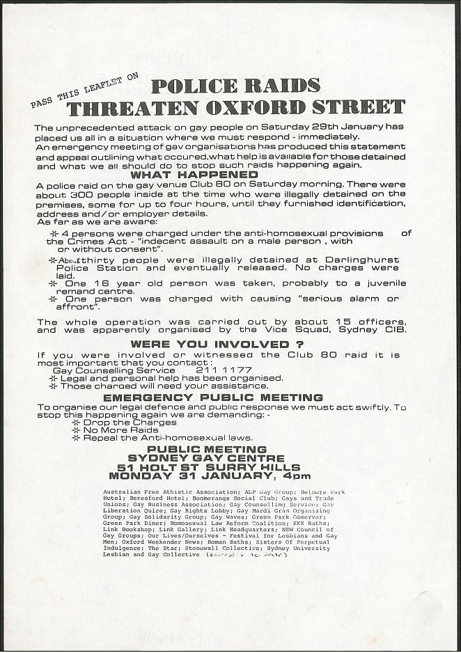 Police raids threaten Oxford Street [Club 80], 1983, Ephemera Collection