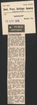 Public opinion – Treated badly, Advocate (Burnie), 10 April 1975