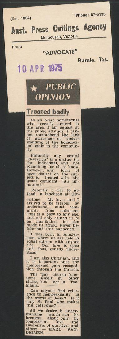 Public opinion - Treated badly, Advocate (Burnie), 10 April 1975
